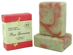Rose Geranium Luxury Bath Soap with an uplifting and exotic blend.